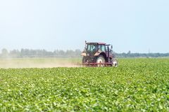 Tractor in the green field. Agriculture machine. Agriculture royalty free stock images