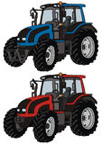 Tractor. Hand drawing of a blue and red tractors Royalty Free Stock Images