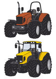Tractor. Hand drawing of two tractors Royalty Free Stock Photos