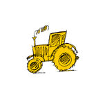 Tractor hand drawn icon. Stock Images