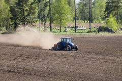 Tractor harrows Royalty Free Stock Images