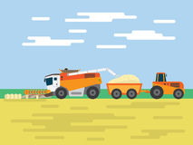 Tractor harvest wheat field Royalty Free Stock Image