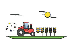 Tractor during the harvest of wheat in field on a sunny day. Farmer equipment. Illustration in flat linear style. Vector Royalty Free Stock Image