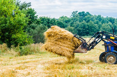 Tractor with a hay Stock Photos