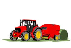 Tractor hay bale Stock Image