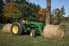 Tractor and Hay Bales Stock Image