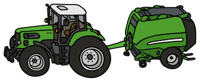Tractor with a hay binder Royalty Free Stock Images