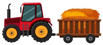 Tractor with hay in the cart vector illustration