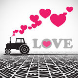 Tractor and hearts. stock illustration