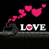 Tractor and hearts. Royalty Free Stock Photo