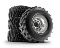 Tractor heavy wheels set isolated on white Royalty Free Stock Photo