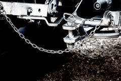 Tractor hitch and tow bar. Close up of new tractor hitch with tow bar and chains, artistic effects on image royalty free stock photo