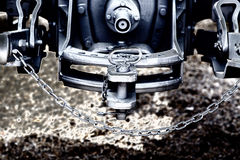 Tractor hitch and tow bar. Close up of new tractor hitch with tow bar and chains, artistic effects, rear view royalty free stock photos