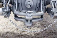Tractor hitch and tow bar. Close up of new tractor hitch with tow bar and chains, rear view stock image