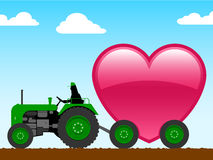 Tractor with huge heart. Tractor with huge pink heart royalty free illustration