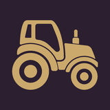 The tractor icon. Agrimotor symbol. Flat Royalty Free Stock Image