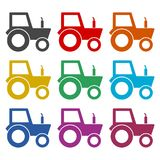Tractor icon, color icons set Stock Images