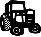 Tractor Icon drawing. Black and white icon drawing of an old vintage tractor Stock Image