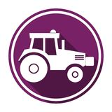 Tractor icon with long shadow Stock Photo