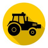 Tractor icon with long shadow Royalty Free Stock Images