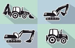 Tractor icon. Tractor one black icon on grey background Stock Photography