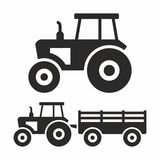 Tractor icon set. An engineering vehicle specifically designed to deliver a high tractive effort at slow speeds, for the purposes of hauling a trailer or royalty free illustration