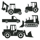 Tractor icon or sign set. Isolated on white background. Tractor grader, bulldozer silhouette, vector illustration Royalty Free Stock Photography