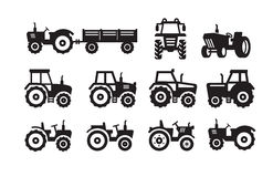 Tractor icon. Vector black Tractor icon on white background Royalty Free Stock Images