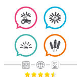 Tractor icons. Agricultural industry transport. Royalty Free Stock Photo