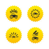 Tractor icons. Agricultural industry transport. Stock Photos