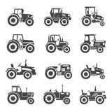 Tractor icons vector. Tractor icons set. Combine for agriculture, transportation machine, vector illustration Royalty Free Stock Photos