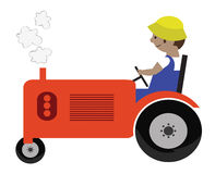 Tractor Illustration. Farmer and tractor Illustration. Done in a cute kid style Stock Photos