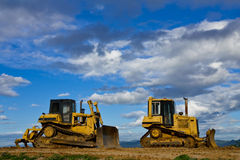 Tractor In Construction Site On Mountain Stock Photography