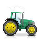 Tractor isolated on white background. Vector illustration. Realistic green tractor isolated with smoke on white background Stock Photos