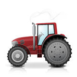 Tractor isolated on white background. Vector illustration. Realistic red tractor isolated with smoke on white background Stock Photography