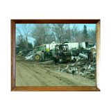 Tractor Junk Yard In Wooden Picture Frame Stock Photos