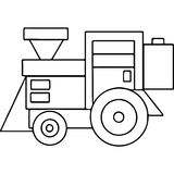 Tractor kids geometrical figures coloring page Stock Images