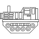 Tractor kids geometrical figures coloring page Stock Image