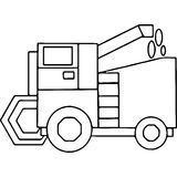 Tractor kids geometrical figures coloring page Stock Photography