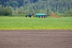 Tractor and Liquid Manure Spreading Machinery. Medium view of a tractor pulling a large liquid manure spreader from right to left across a cornfield Stock Images