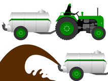 Tractor with liquid manure tanker. Agriculture stock illustration