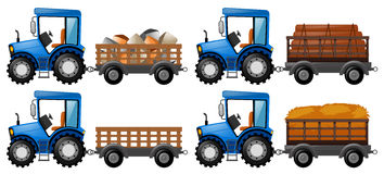 Tractor loaded with four farm products. Illustration Stock Photo