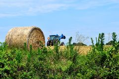 Tractor loading hay bales Stock Photography
