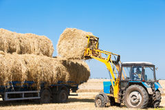 Tractor loading hay bales on truck trailer Royalty Free Stock Photos