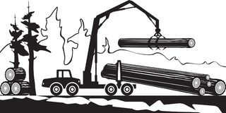 Tractor loading wood timbers in the forest vector illustration