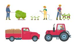 Tractor and Lorry with Load Vector Illustration. Tractor and lorry with load transporting vehicle. Man with sprayer and woman with watering hose by plantation of stock illustration