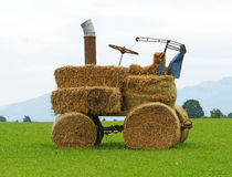 Tractor made from hay Royalty Free Stock Photos