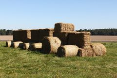 Tractor made of hay bales Stock Photo