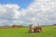 Tractor made of hay bales, rural landscape Royalty Free Stock Images