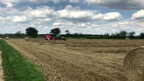 Tractor making hay bales. On sunny summer day stock video footage